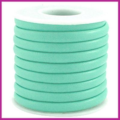 Gestikt leer imitatie 6x4mm Groen turquoise per cm