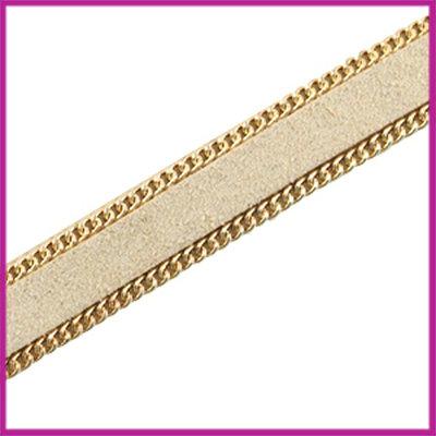 Imitatie 10mm plat leer sude met ketting Goud - beige per 10cm