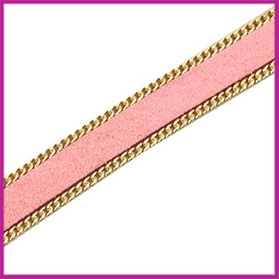 Imitatie 10mm plat leer sude met ketting Goud - roze per 10cm