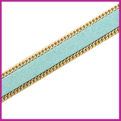 Imitatie 10mm plat leer sude met ketting Goud - blauw per 10cm