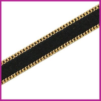 Imitatie 10mm plat leer sude met ketting Goud - zwart per 10cm
