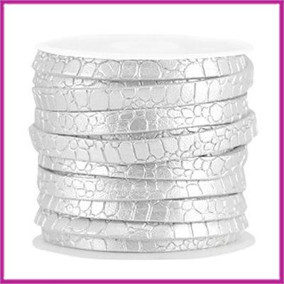 Imitatie leer plat croco 5mm Zilver per cm