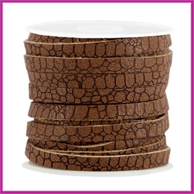 Imitatie leer plat croco 5mm Rust brown per cm