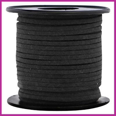 Imitatie suede veter 3mm Black per meter