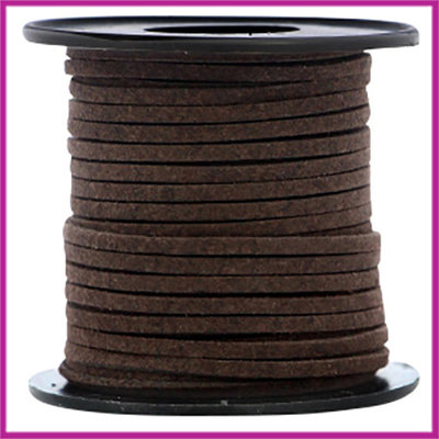 Imitatie suede veter 3mm Dark chocolate brown per meter