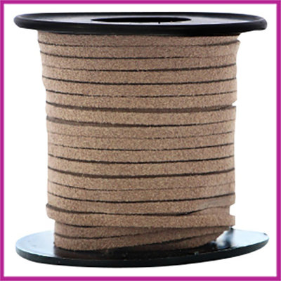Imitatie suede veter 3mm Dark brown per meter