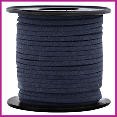 Imitatie suede veter 3mm Dark blue per meter