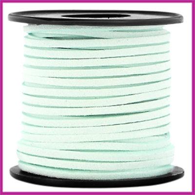Imitatie suede veter 3mm Light mint green per meter