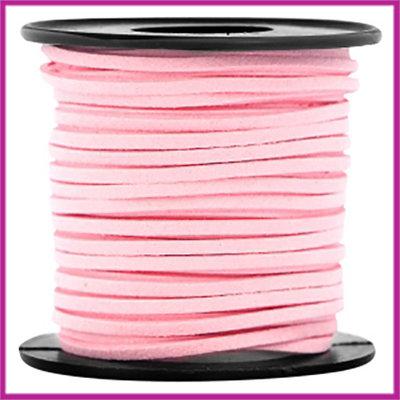 Imitatie suede veter 3mm Pink per meter