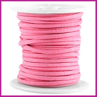 Imitatie suede veter 3mm Indian Pink per meter