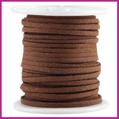 Imitatie suede veter 3mm Chocolate Brown per meter