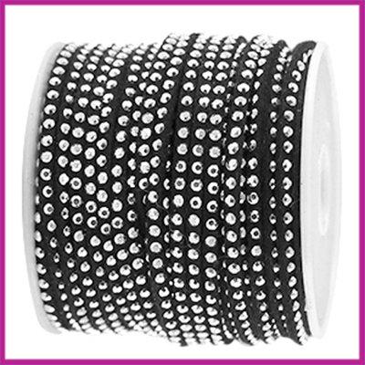 Imitatie suede veter 3mm met strass zilver - zwart per 20cm