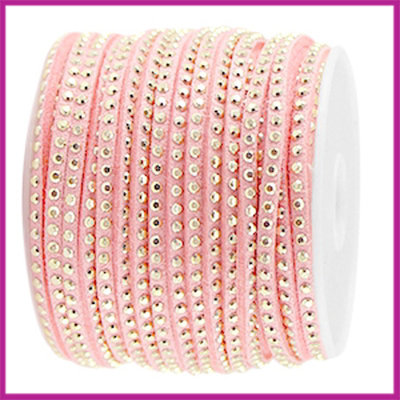 Imitatie suede veter 3mm met strass goud-bright strawberry per 20cm