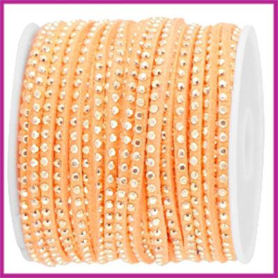 Imitatie suede veter 3mm met strass goud - bright coral per 20cm