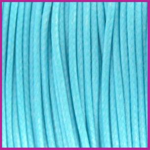 Waxkoord (polyester) ø1mm Aquamarine blauw per meter