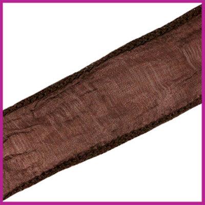 DQ zijde lint 30mm Donker bruin