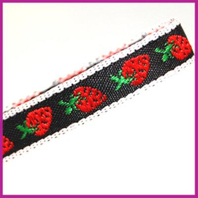 Lint 10 mm zwart met rode aardbeitjes 1 meter
