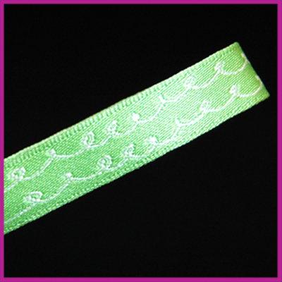 Lint 10 mm groen met witte krullen 1 meter
