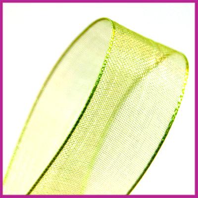 Organza lint 15 mm limoen groen per meter