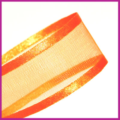 Organza lint 24 mm oranje per meter