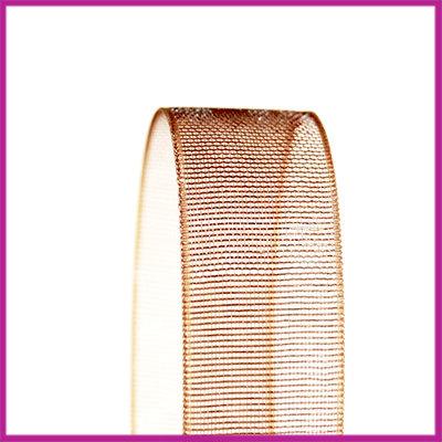 Organza lint 10 mm bruin per meter