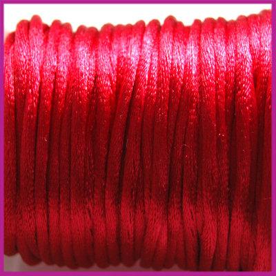 Satijnkoord 2 mm Diep rood per meter