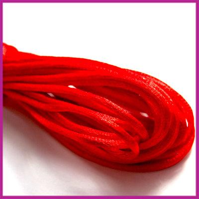 Satijnkoord 2 mm Fel rood per meter