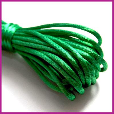 Satijnkoord 2 mm Groen per meter