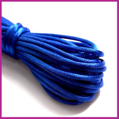 Satijnkoord 2 mm Blauw per meter