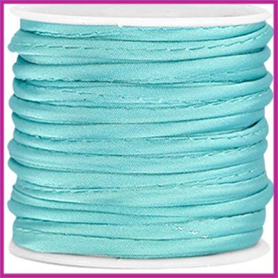 Wrap satijnkoord ca. 3mm Aqua blue per 20cm