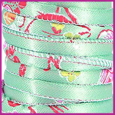Trendy gestikt Geisha koord 6x4mm Turquoise per cm