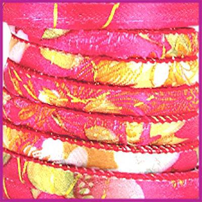 Trendy gestikt Geisha koord 6x4mm Fuchsia per cm