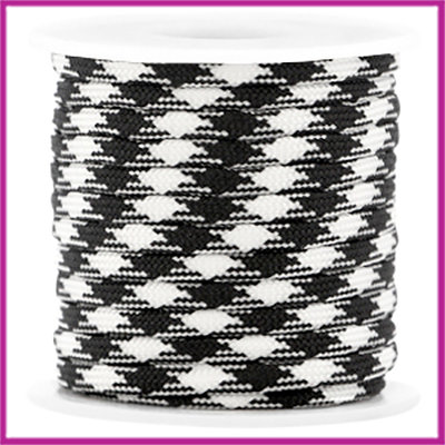 Trendy surfkoord plat 4mm black-white per 20cm