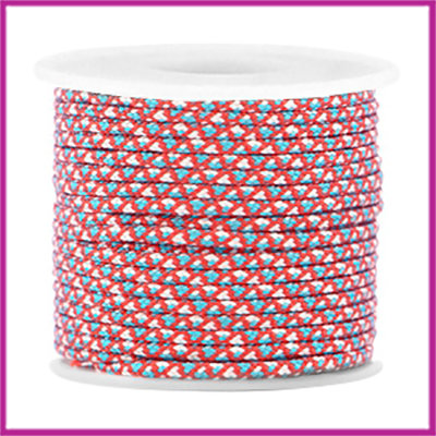 Trendy surfkoord rond 2mm red white blue per 20cm