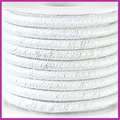 Trendy koord metallic 5mm white silver per 20cm