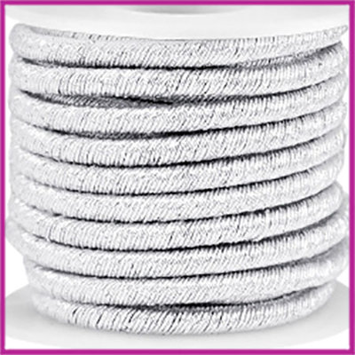 Trendy koord metallic 5mm silver per 20cm