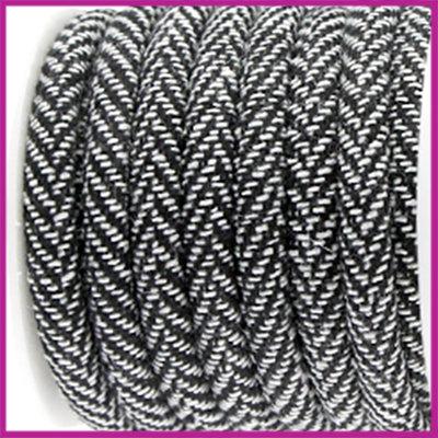 Trendy gestikt koord 6x4mm Zwart wit per 10cm