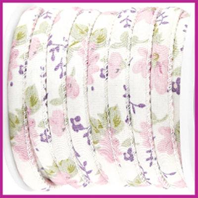 Trendy gestikt koord 5,5x4mm bloemetjes Roze violet per 10cm