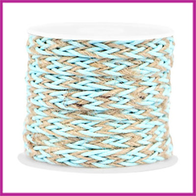 Trendy plat gevlochten waxdraad 7mm Turquoise blue beige per cm