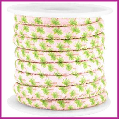 Trendy gestikt koord 6x4mm licht rose palmboom per 10cm