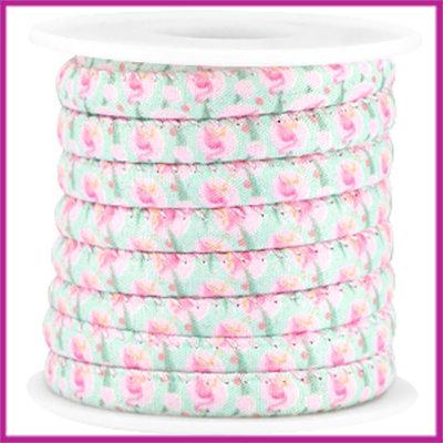 Trendy gestikt koord 6x4mm roze turquoise flamingo per 10cm