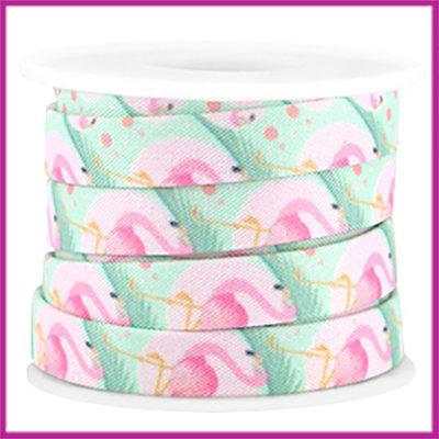 Trendy plat koord 10mm roze turquoise flamingo per 10cm
