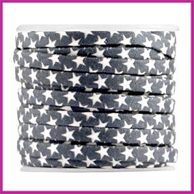Trendy koord plat 5mm Ster donker blauw-grijs per cm