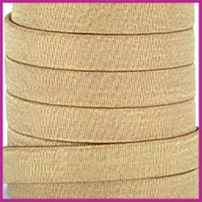Trendy Jean-Jean glansstof koord plat 10mm Gold per 20cm