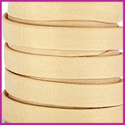 Trendy Jean-Jean glansstof koord plat 10mm Ivory gold per 20cm