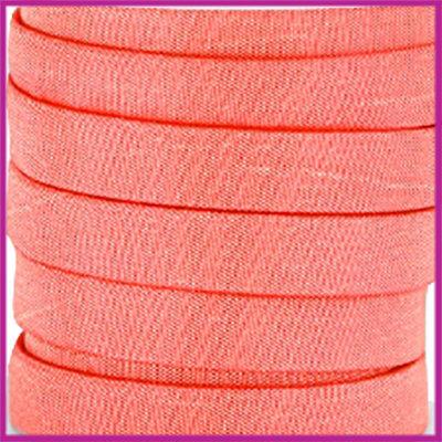 Trendy Jean-Jean glansstof koord plat 10mm Coral pink per 20cm