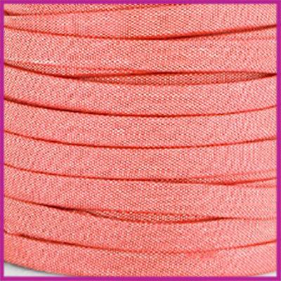 Trendy Jean-Jean glansstof koord plat 5mm Coral pink per 20cm