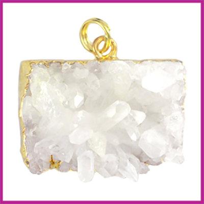 Edelsteen hanger goud metaal Crystal quartz