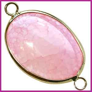 Edelsteen hanger 2 ogen goud ovaal Agaat roze