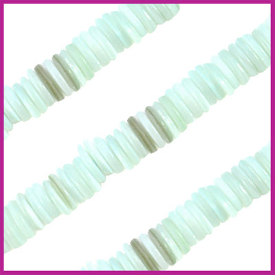 Schelp kralen disk ca. 8x2mm Light turquoise parelmoer